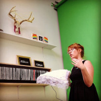 """The Purity Pillow being pitched at """"iLike Market"""" at Family Business Gallery in Chelsea"""